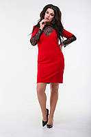 Женское платье мини с гипюровыми вставками, фото 1