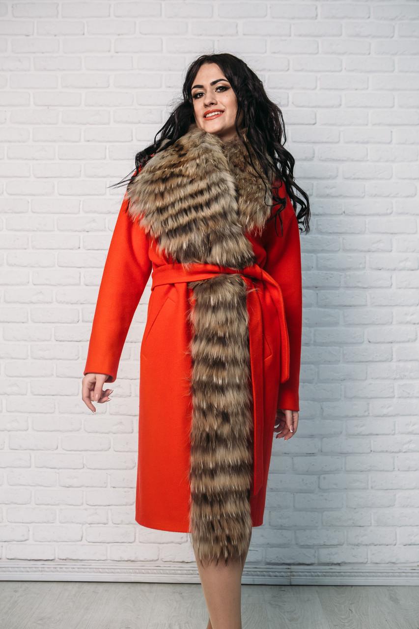 Женское пальто Vshubke классика приталенное  48 красное с енотом (720)