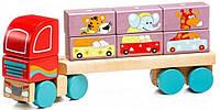 Деревянная игрушка Левеня Cubika Тягач с кубиками LM-14 13432R, КОД: 123867