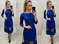 Платье люкс, арт 146,ткань креп дайвинг, цвет электрик, фото 1