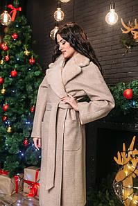 Пальто кашемировое с воротом из скандинавской норки
