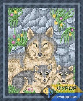 Схема для вышивки бисером картины Волчье семейство (ЖБп3-002)