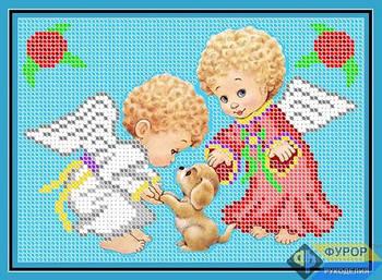 Схема для вышивки бисером картины Ангелочки и собачка  (ДБч5-006)