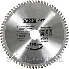 Диск пильный по алюминию YATO 210 х 30 х 3.0 x 2.2 мм 72 зубца R.P.M до 8000 1/мин YT-6093