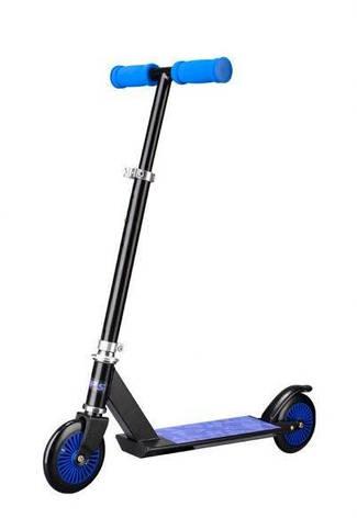 Детский стальной самокат Cups, двухколесный 120мм, скутер синий, фото 2