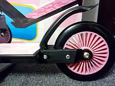 Детский стальной самокат Cups, двухколесный 120мм, скутер розовый, фото 3