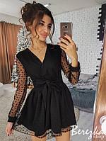 Платье на запах мини с пышной юбкой сетка со звездами на подкладке Sms2918