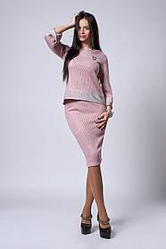 Женский костюм размеры 44,46,48,50,52 пудра
