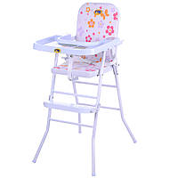 Стульчик HB 303-8 (1шт) для кормления,ш44-г60-в92см,высот.до сид58см,рег.столик,складн,клеенк,розов
