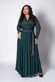 Пышное женское платье размер 52,54,56 бутылочное люрекс