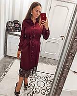 Платье красивое вечернее миди из атласа с кружевом Smvv2921, фото 1