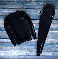 Мужской зимний спортивный костюм с флисом Under Armour Черный Реплика
