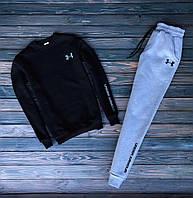 Мужской зимний спортивный костюм с флисом Under Armour черный с серым Реплика