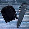 Мужской зимний спортивный костюм с флисом Under Armour черный с пепельным Реплика