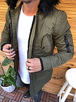 Мужская зимняя парка теплая с мехом стильная Турция хаки, фото 1