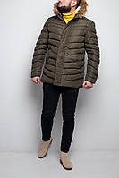 Мужская зимняя парка теплая с мехом стильная хаки, фото 1