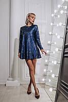 Платье мини свободного кроя женское модное пайетка на трикотаже Smdi2924, фото 1