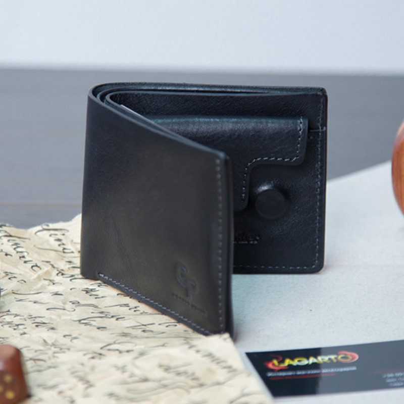 5842ae6ca7f1 Хит 2019 года! Черный мужской кошелек портмоне из ИТАЛЬЯНСКОЙ КОЖИ -  Lagarto.com.