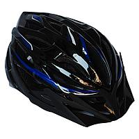 Велосипедный шлем универсальный со съемным козырьком SmartWorld FT-58-2 53-58 см Черный с синим 8, КОД: 212427