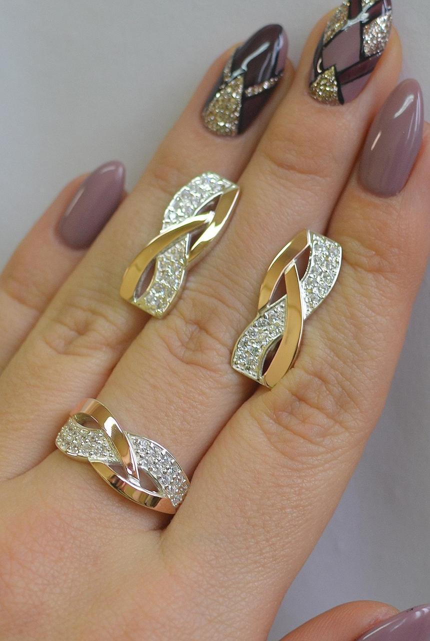 Серебряный набор серьги и кольцо с фианитами