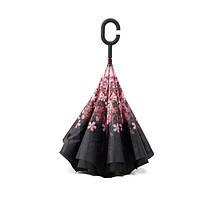 Ветрозащитный зонт Up-Brella антизонт Зонт обратного сложения (Розовые  Цветочки) 121243840aad2