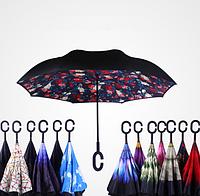 Ветрозащитный зонт Up-Brella антизонт Зонт обратного сложения (Розы)