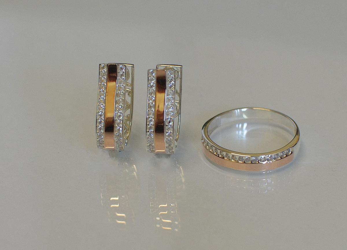 Гарнитур из серебра с золотыми пластинами