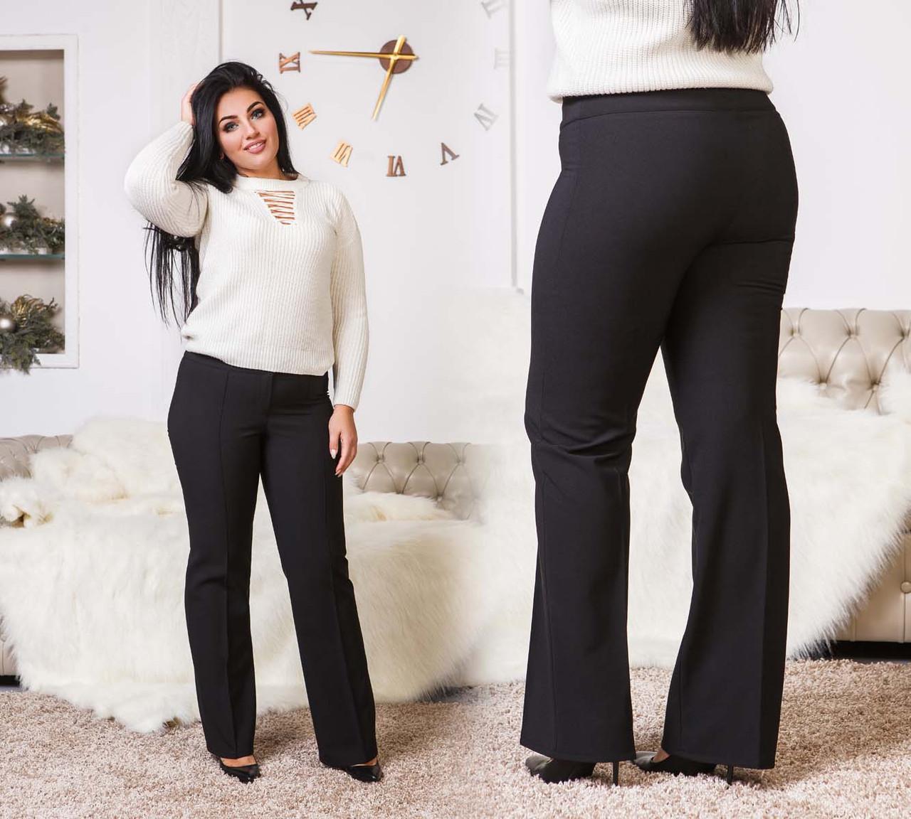 """Женские тёплые брюки на флисе в больших размерах 41188 """"Алекс Клёш"""""""