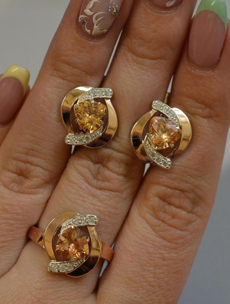 Серебряный набор с золотыми вставками