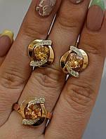 Серебряный набор с золотыми вставками , фото 1