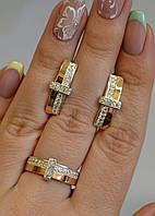 Серебряный комплект с золотыми вставками и фианитами, фото 1
