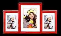 Мультирамка-коллаж настольная на 3 фотографии 10х15+15х21 красная, фото 1