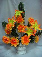 Букет  хризантема с лилией (6 шт в уп), фото 1