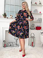 b8691a6abd2 Принтованное платье миди длины с карманами в боковых швах