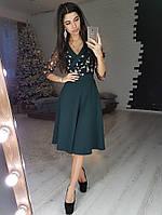 7e614c709fe Темно-зеленое приталенное платье миди с запахом и сеткой с кружевом