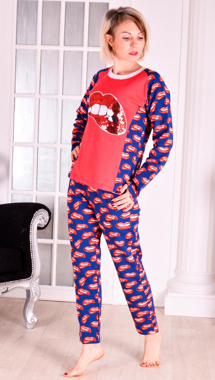 """Женская теплая пижама розовая  """"lips"""" размер 40"""