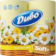 """Бумага туалетная """"Диво"""", 4 рулона, на гильзе, 2-х слойная, Жёлтая"""