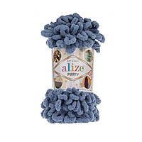 Пряжа Alize Puffy 374 голубой джинс (Пуффи Ализе) для вязания без спиц руками