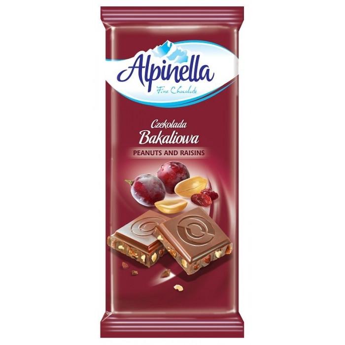 Шоколад Alpinella молочный c арахисом и изюмом 90 г