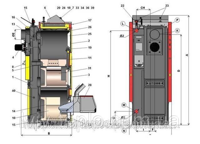 Комбинированные, пиролизные, дровяные, пеллетные, газовые, дизельные (жидкотопливные) котлы Atmos DC15EP(L)
