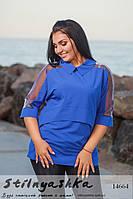 Стильная блузка для полных с воротником индиго, фото 1