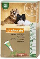Защита от блох и клещей Bayer Advocate для собак до 4 кг.