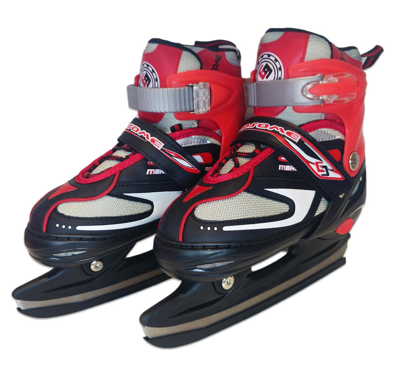 Коньки ледовые раздвижные Sport - Красные, размер 30-33, 34-37