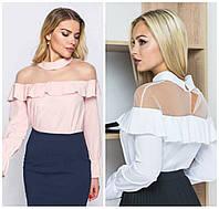 Женская блуза с воланами Батал до 50 р 17121-1, фото 1