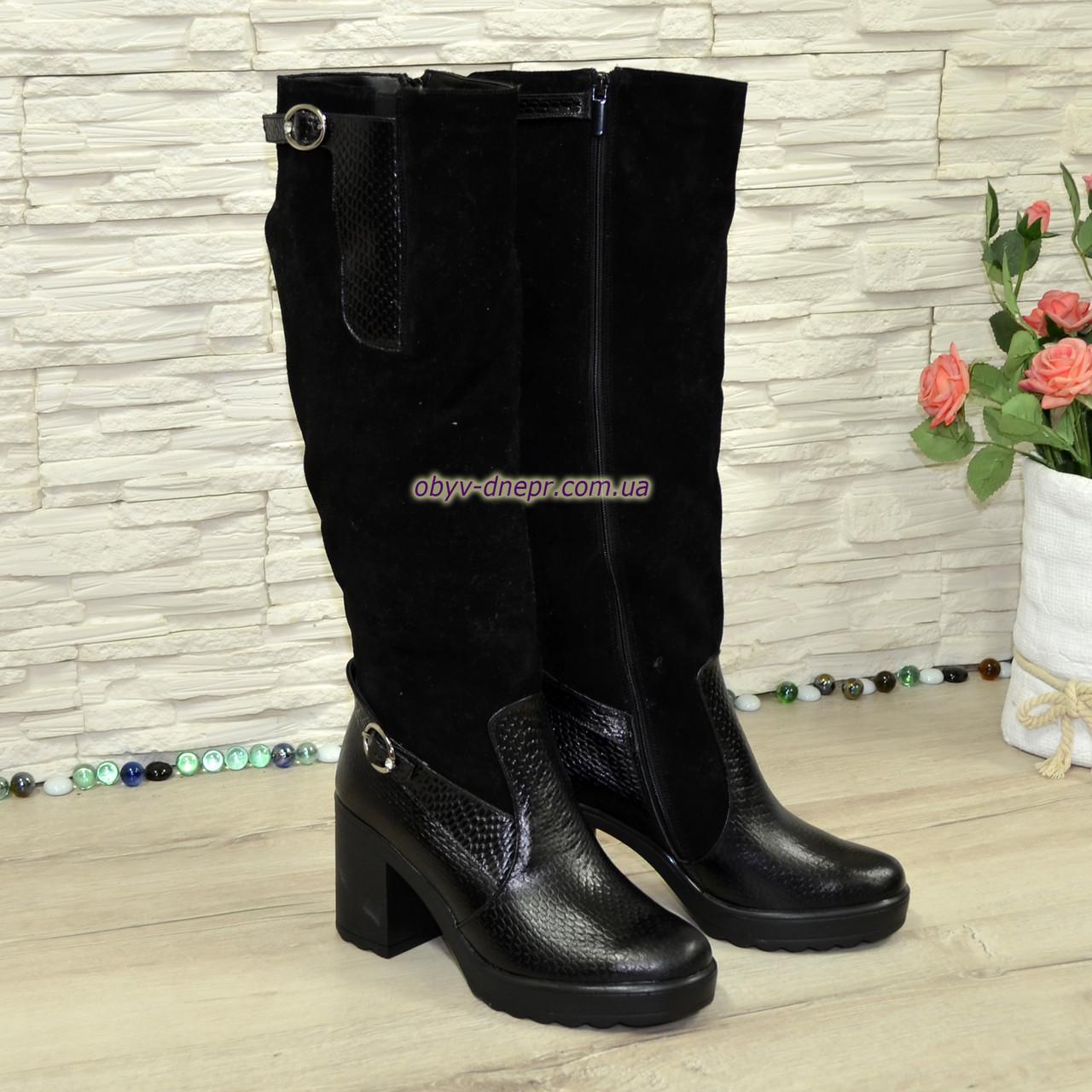 cc9180f26 Женские зимние высокие стильные сапоги, натуральный замш+кожа крокодил+камни