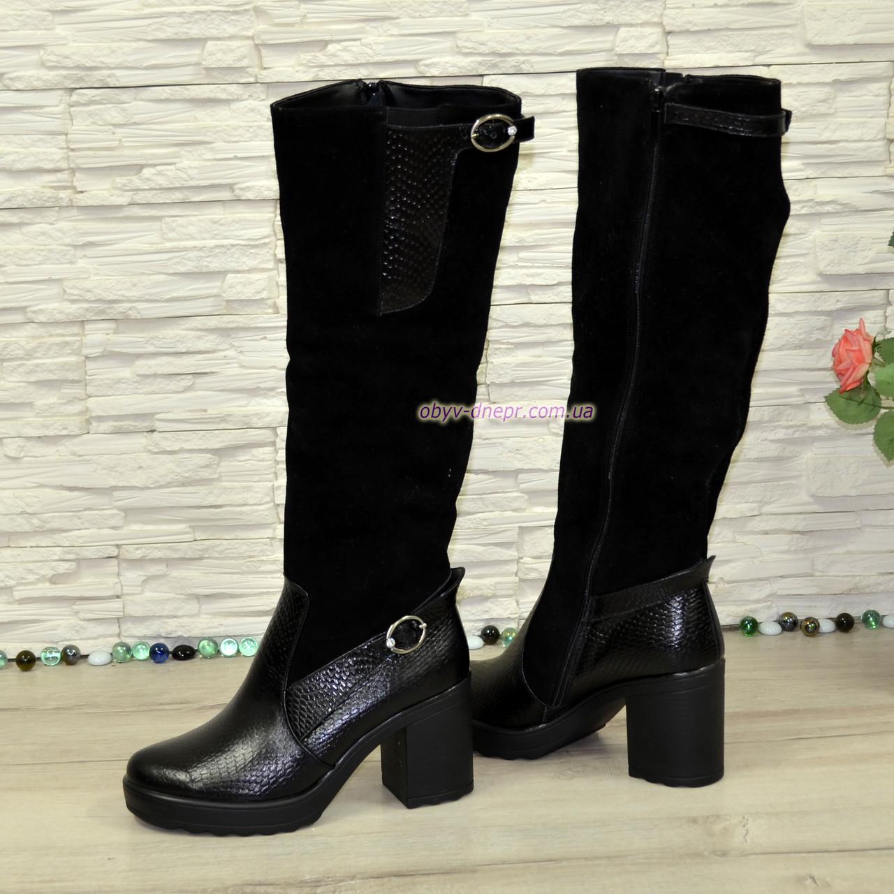 a9c55462c ... Женские зимние высокие стильные сапоги, натуральный замш+кожа  крокодил+камни, ...