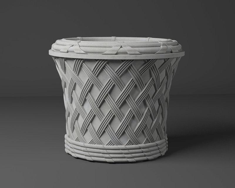 Вазон для цветов бетонный для сада и террасы Ротанг (бетонный)