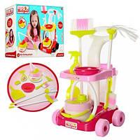 Детский набор для уборки, тележка, щетки, ведро, совок, 667-34-36