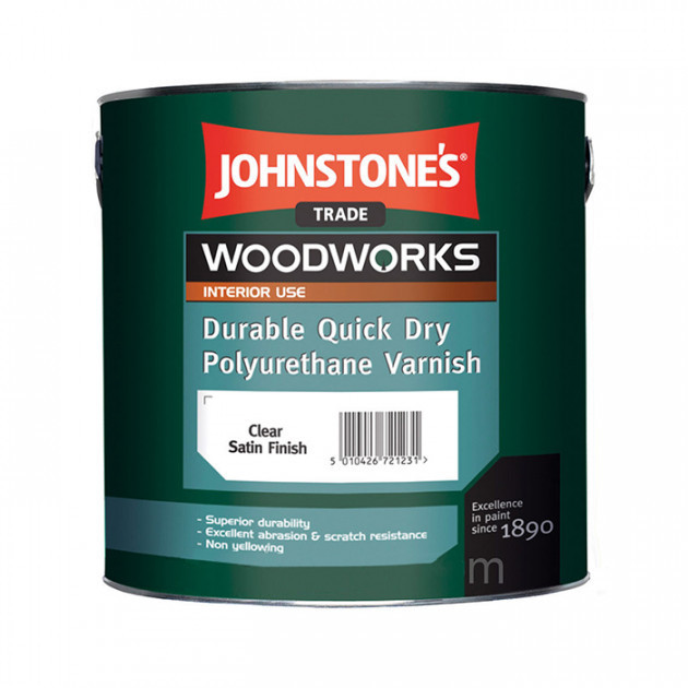 Лак для меблів johnstone's Quick Dry Polyurethane Varnish Clear Gloss (напівглянцевий) 2.5 л