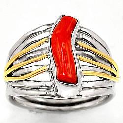 Коралл красный, серебро 925, кольцо, 1433КЦК